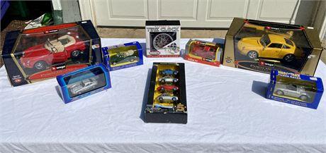Porsche Diecast Car Lot & Tire Clock