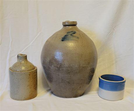 Stoneware  & Salt Glaze Jugs and Crock