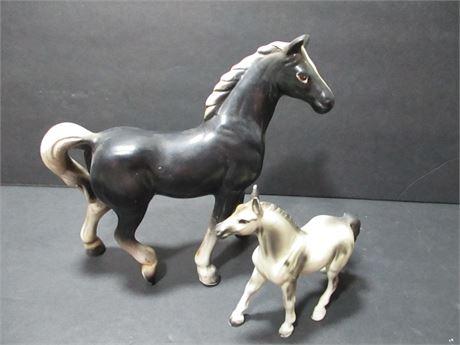 "2 Pieces 6"" & 4"" Ceramic Collectible Horse Figurines Japan"