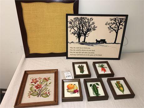 Framed Embroidered and Needlepoint Artwork