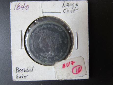 1840 Large Cent, Braided Hair Coin
