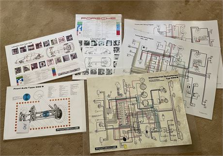 Porsche Wkshp Technical Schematics, Wiring Diagrams, Cut-Away Laminated Posters