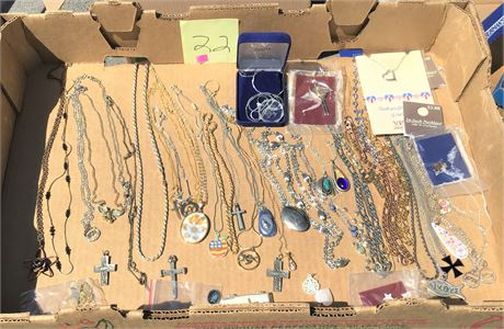 Sterling Silver and Turquois Necklace and Assorted Costume Jewelry Necklaces