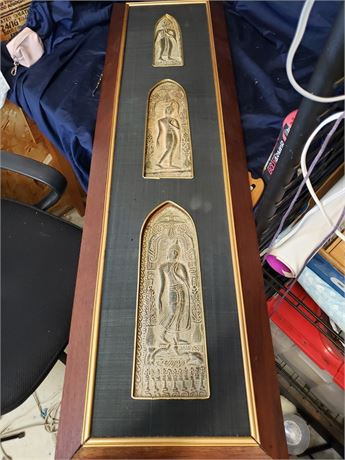 Thai Bronze Relief Walking Buddha set of 3 framed (came uglued)