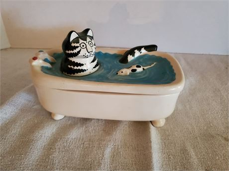 Kliban the Cat in a Bathtub Covered Dish