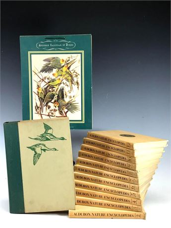 Audubon Nature Encyclopedia Volumes, 1940 Calendar and Birds of America Book