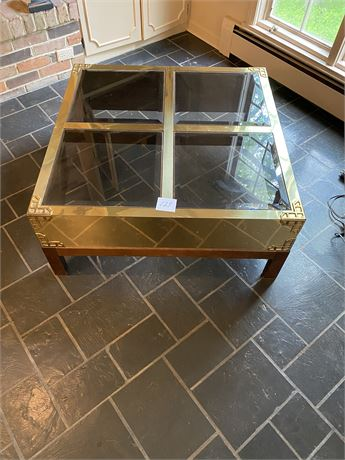 Unique Vintage Cocktail Table with Beveled Glass, Brass Design and a Wood Based