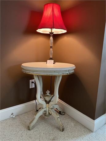 Antique Marble Top Table with Lamp