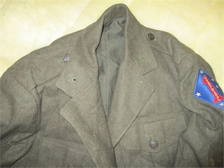 Vintage 1943 USMC Long Military Dress Uniform Coat w/ Guadcanal Patch