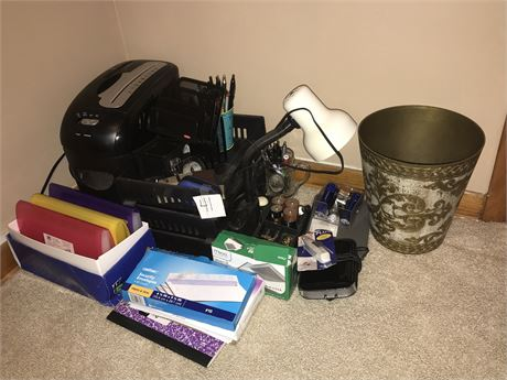 Office Supply Lot including Paper Shredder & Desk Light