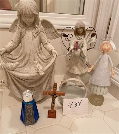 Religious Items & Porcelain Angels Lot