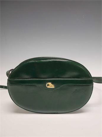Cristian Italy Green Leather Oval Handbag