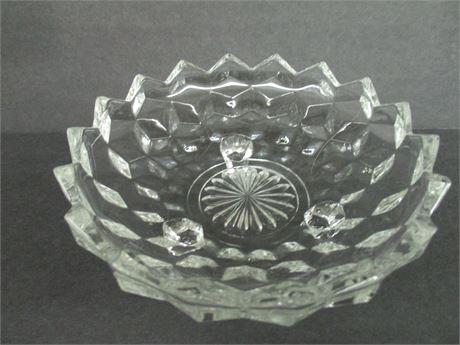 """Vintage 7"""" Ornate Fancy Glass Serving  Bowl Dish"""
