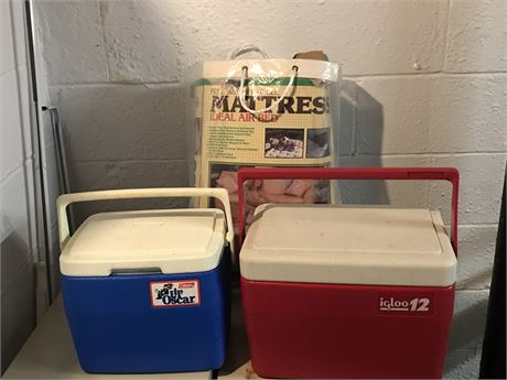 2 Mini Coolers and Full Size Air Mattress