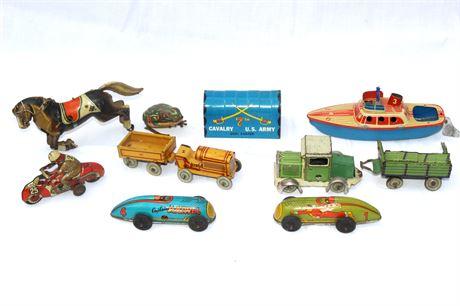 Tin Litho Group Including 1947 Captain Marvel Cars
