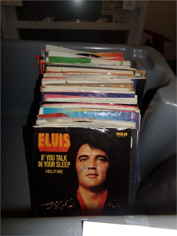 Large Stack of 45's incl. Elvis, The Forester Sisters, and MORE
