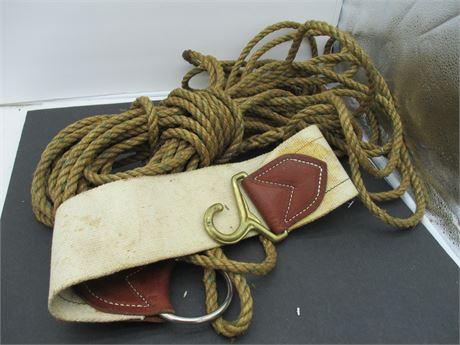Vintage Long Genuine Hemp cowboy Western Saddle Rope W/ Saddle Band
