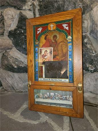 Antique Christian Alter Sick Call Last Rites Lighted Box