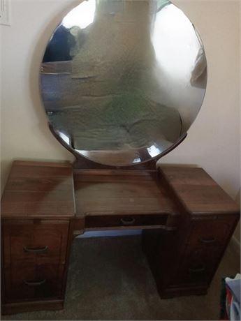 Art Deco Vanity with Round Mirror