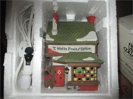Vintage Dept 56 Dicken's T Well's Fruit & Spice Christmas Village Collectible