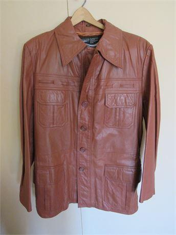Brown Leather Coat w/ Liner. Men's Vintage Montgomery Wards