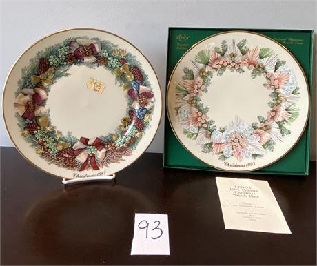 Pretty Vintage Ivory China Limited Edition Christmas Wreath Plates - Lenox