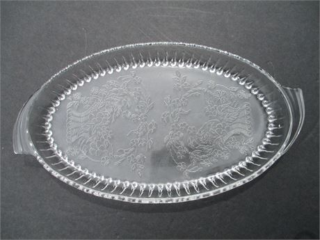 """Vintage 10"""" Fancy Oval Glass Shallow Relish Plate Dish"""