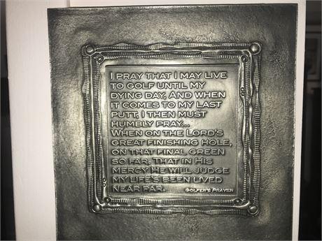Don Drumm Golfer's Prayer Plaque