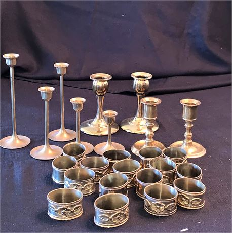 Solid Brass Candle Sticks and Napkin Rings