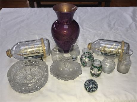 Large Glass Lot including Two Ships in a Bottle