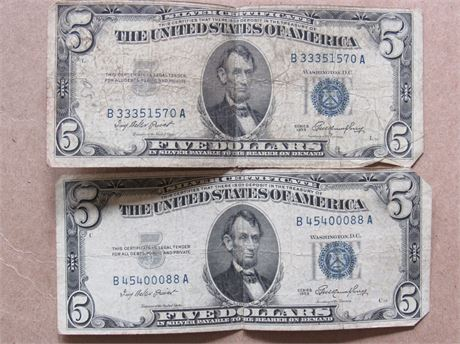 $5 US Silver Certificates
