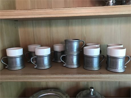 Ten Wilton Armetale Hot Beverage Cups with Eight Inserts