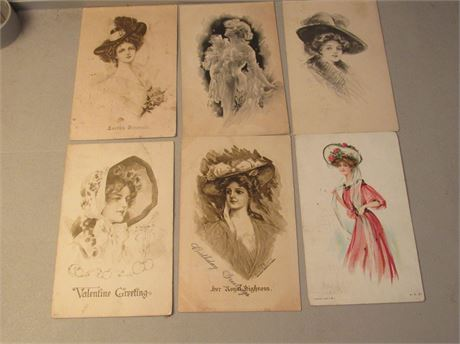 Victorian Ladies Postcards, Used Dated Circa 1910-1913