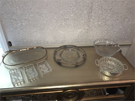 Glass and Crystal Lot including Antique Glass