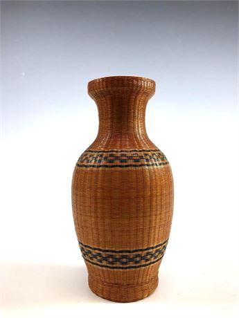 Fine Woven Wicker Over Porcelain Vase