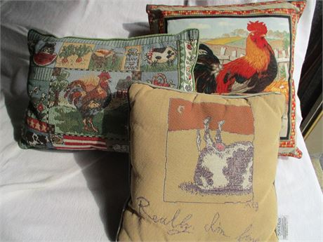 3 Country Themed Print Novelty Accent Country cushions Pillows Lot