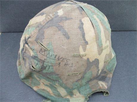 Vintage Genuine US Military Army 1970's Camo Covered Helmet