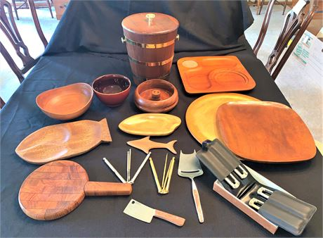 Carved Wood Serving Bowls and Plates