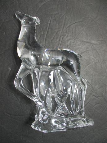 "Vintage 7 1/2"" Fancy Fine Clear Crystal Deer Statue Figurine"