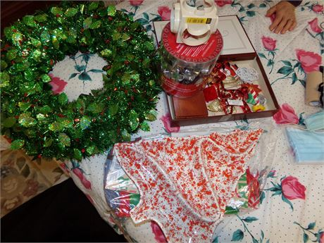2 Christmas Wreaths, Ceramic Tray, Cookie Cutters, and Ornaments