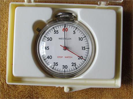 Westclox Stop Watch, Vintage w/ case