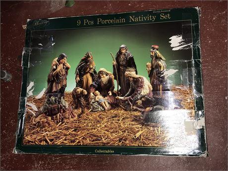 9 Piece Porcelain Nativity Scene - Hand Painted