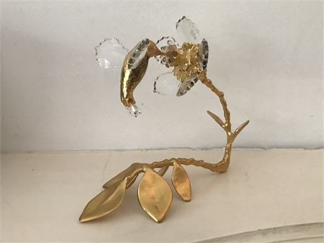 La Melodic Metal and Crystal Hummingbird Sculpture