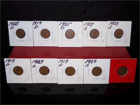 Lot of 10 Wheat pennies