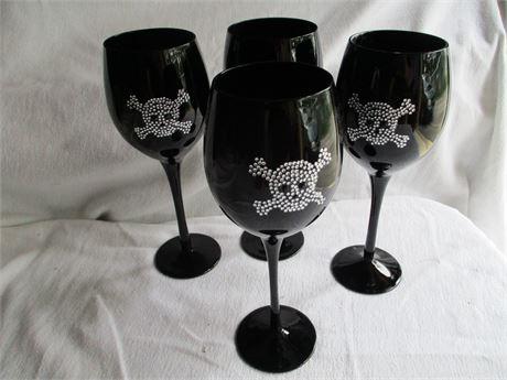 """Matched Set of 4 Black 9 1/2"""" Crystal Stemmed Drink Glasses w/ Skull"""