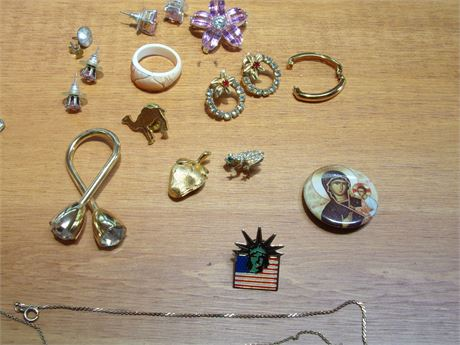 Variety of Costume Jewelry incl. Pins, Ring, Earrings