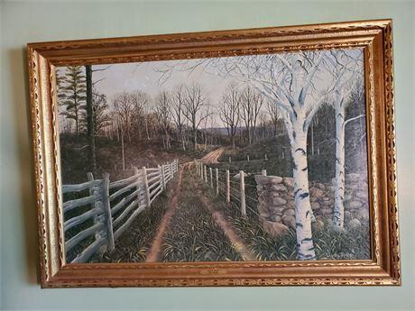 G. Von Trier Birch Path Framed Faux Oil Painting