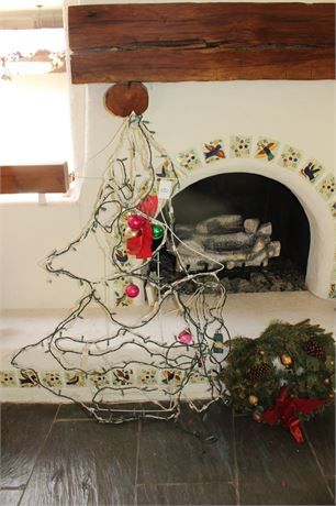 """52"""" Outdoor Light Up Christmas Tree and Wreath"""