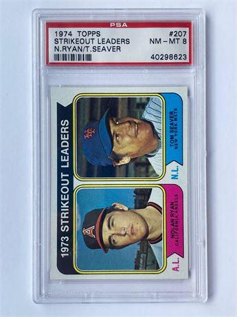 1974 Topps #207 Nolan Ryan/Tom Seaver K's Leader PSA 8