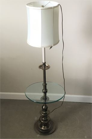 Round Glass Table/Lamp Combo